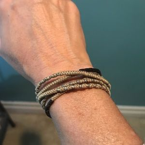 Nan Fusco wrap bracelet silver and cording